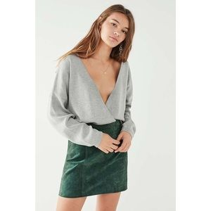 Urban Outfitters Solid Gray Erin Surplice Sweater